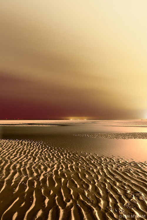 Night on Blackpool Beach - Lancashire, England