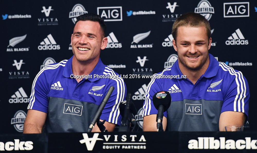 Ryan Crotty and Sam Cane during an All Blacks press conference at the Hyatt Regency Hotel in Chicago, USA. Tuesday 1 November 2016. © Copyright Photo: Andrew Cornaga / www.Photosport.nz