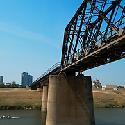 The Chicago, Rock Island and Gulf railway bridge spans the West Fork of the Trinity River just east of downtown Fort Worth. The Trinity Railway Express, the commuter line between Dallas and Fort Worth, runs on this bridge. Photograph taken on 9/14/2013.
