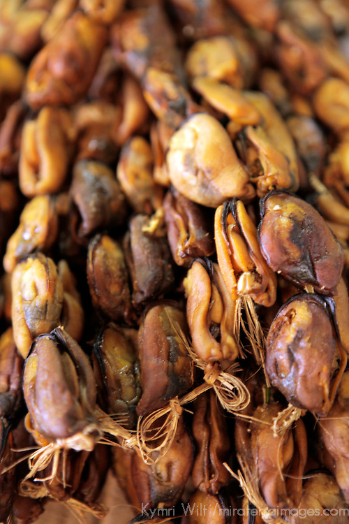 South America, Chile, Puerto Montt. Dried smoked mussels in Puerto Montt.