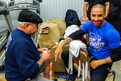 Rancho Cucamonga, California/USA (Tuesday, Nov 12 2013) - Super middleweight champion Andre Ward (26-0, 14 KOs) gets ready for his open workout at the Ward vs Rodriguez Media Workout at the Warzone Boxing Club in Rancho Cucamonga, CA USA. Andre have not fought in over a year due to right shoulder surgery. He is facing Edwin Rodriguez (24-0, 16 KOs) at the Citizens Business Bank Arena in Ontario, California. The Ward-Rodriguez bout will be televised live on HBO at 9:30PM PST. PHOTO © SILVEXPHOTO.COM.