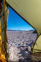 Camping in volcanic ash close to the Volcano Ollage in Chile, Atacama desert, close to the Bolivian border