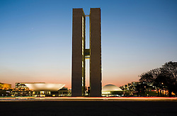 Congresso Nacional, Brasilia,DF,Brazil. Congresso Nacional em Brasilia.Desenhado pelo arquiteto Oscar Niemeyer/ National Congress in Brasilia, the capital city of Brazil, located in the Brazilian Federal District. UNESCO has declared Brasília a World Heritage Site. The building was designed by Oscar Niemeyer