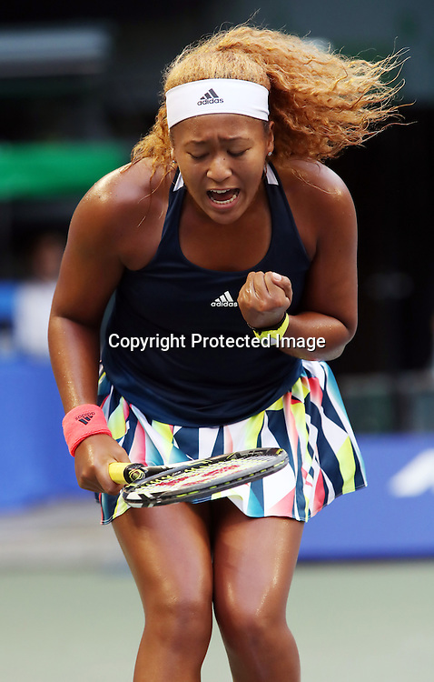 September 21, 2016, Tokyo, Japan - Naomi Osaka of Japan shouts as she won a key point against Slovakia's Dominika Cibulkova during the second round of the Toray Pan Pacific Open tennis championships in Tokyo on Wednesday, September 21, 2016. Osaka defeated Cibulkova 6-2, 6-1.   (Photo by Yoshio Tsunoda/AFLO) LWX -ytd-