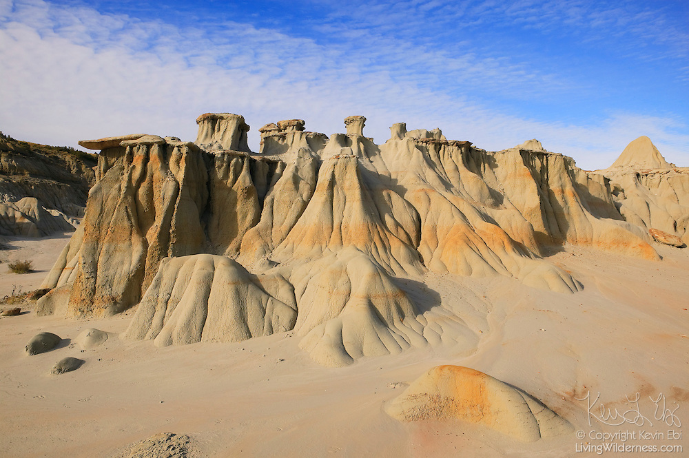 """Several """"mushroom pedestal"""" rock formations dot the landscape in Theodore Roosevelt National Park in the Badlands of North Dakota. The formations are carved by rain and wind."""