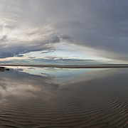 Low tide exposes the ribbed texture of the tidal flats at Mayfower Beach in Dennis.