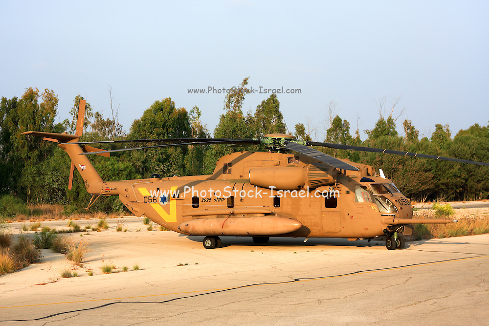 Israeli Air force helicopter, Close up of a Sikorsky CH 53 on ground