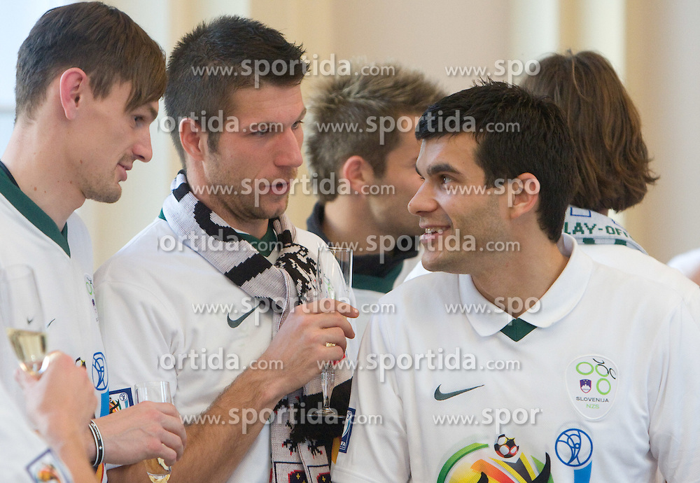 Milivoje Novakovic, Bostjan Cesar and Aleksander Radosavljevic at Reception of Slovenian National football team at president of Republic of Slovenia dr. Danilo Turk after Slovenia qualified for the FIFA World Cup South Africa 2010, in President's place , Ljubljana, Slovenia.   (Photo by Vid Ponikvar / Sportida)