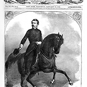 "Union Army General ""Little Mac"" George B. McClellan on horseback. Harper's Weekly newspaper  Cover January 25, 1862. He later ran as the Democratic candidate for president in 1864 against Republican President Lincoln's second term.  He was popular in the early days of the Civil War, but was relieved of his command when he failed to act aggressively in the Peninsula Campaign, losing any chance to end the war in 1862 or 1863."