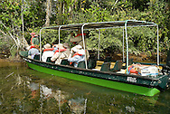 Expedition boats explore the waters of the Panama Canal through coves and inlets in search of wildlife including countless species of birds, reptiles and several species of monkeys.  The most comfortable and accessible way to discover the natural attributes of the Panama Canal watershed. Gamboa, where the Chagres River meets the Panama Canal. The flow of all the rivers within the Panama Canal Watershed is contained in Gatun Lake to provide water for the operation of the lock system. More than 52 million gallons of fresh water are used for every ship that transits through the Panama Canal from one ocean to another.