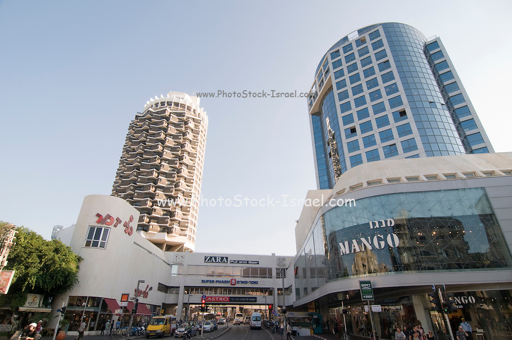 Israel, Tel Aviv Dizengoff centre shopping mall and residential tower