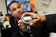 Mark Brown (R) a supervisor with the metro Denver Criminal Enforcement Section of the State of Colorado Medical Marijuana Enforcement Division looks at the label on a jar of buds with the manager of the center in the background in a medical marijuana center in Denver April 2, 2012.  With Colorado voters set in November to decide whether to defy the federal government and legalize marijuana for recreational use under state law, the enforcement division could play a key role in bringing a black market pot trade out of the shadows.  REUTERS/Rick Wilking (UNITED STATES)