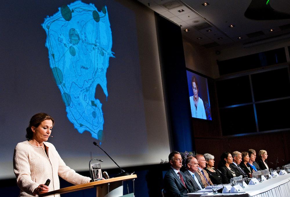 22 Juli kommissionens ledare Alexandra Bech Gjørv presenterar rapporten på en presskonferens i Oslo