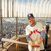 NEW YORK, NY - JANUARY 8, 2016: Newly elected member of the National Baseball Hall of Fame Mike Piazza poses for a photo from the top deck of the Empire State Building on January 8, 2016 in New York, New York. (Photo by Jean Fruth)
