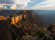 Looking out to Wotans Throne from Cape Royal. North Rim of Grand Canyon National Park in Arizona.