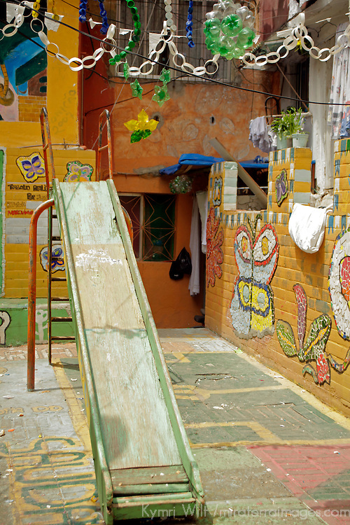 South America, Brazil, Rio de Janeiro. Playground of Favela of Vila Canoas.