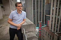 "Chris Hayes, host of the MSNBC television show ""UP with Chris Hayes"" at Rockefeller Center in New York. . . Photo by Robert Caplin"