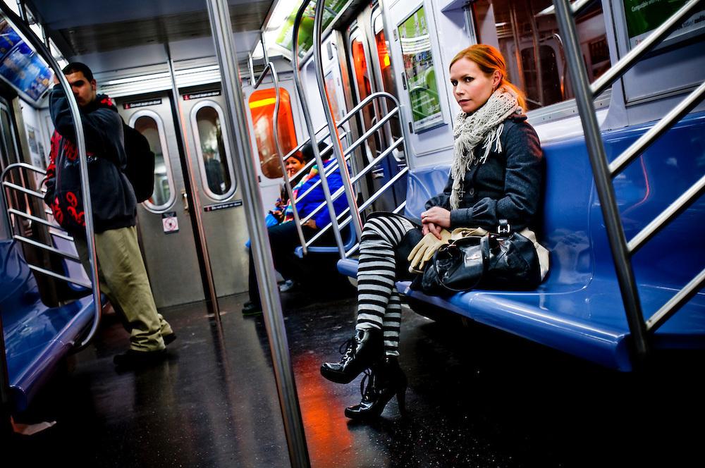 Swedish singer Nina Persson on a subway train in New York..Photographer: Chris Maluszynski /MOMENT