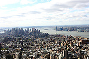 South Manhattan view from atop at The Empire State Building lighting ceremony, where the world's most famous office buiding will shine brightly in ths colors of Gabrielle's Angel Foundation for Cancer Research, red and purple, on the night of Gabrielle's Gala..The mission of Gabrielle's Angel Foundation is to fund basic and clinical medical research in both conventional and intergrativedisciplines which focus on prevention, treatment and quality of life issues of leukemia, lymphoma and related cancers.