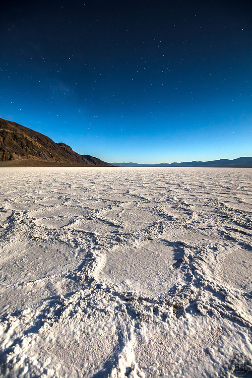 """Badwater Basin at Night 3"" - Predawn photograph of the Badwater Basin salt flat in Death Valley, California. The Milky Way can be seen in the sky."