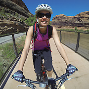 SHOT 5/9/16 11:10:45 AM - GoPro footage and stills of the Mag 7 trail, Fisher Towers and the bike trail along Highway 128 in Moab. Moab is a city in Grand County, in eastern Utah, in the western United States. Moab attracts a large number of tourists every year, mostly visitors to the nearby Arches and Canyonlands National Parks. The town is a popular base for mountain bikers and motorized offload enthusiasts who ride the extensive network of trails in the area. (Photo by Marc Piscotty / © 2016)