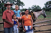 Portrait of country family, Chapada da Piteira, Brazilian Highlands, Goias, Brazil