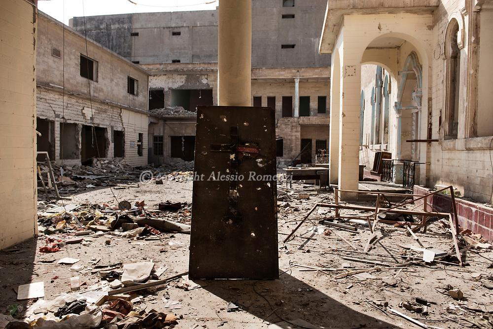 Iraq, Mosul: the damaged by airstrikes courtyard of Um Al Maonna church in west Mosul. Alessio Romenzi