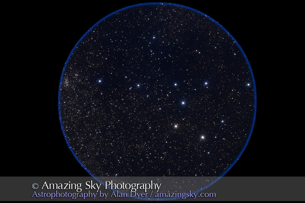Taken with 4-inch apo refractor at f/4.5 with Canon 20Da camera at IS0800 for 5 minutes. Stack of two exposures. One layer median filtered and gaussian blurred to enhance glows around stars.