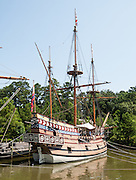 """Susan Constant, captained by Christopher Newport, was the largest of three ships (the others being Discovery and Godspeed) of the English Virginia Company on the 1606-1607 voyage that founded Jamestown, the first permanent English colony in the Americas. The voyage carried 105 colonists, all male. Built in 1991, the Susan Constant replica at Jamestown Settlement is 116 feet long from tip to stern, like the original built in 1605 England. Jamestown Settlement, operated by the state's Jamestown-Yorktown Foundation, chronicles 1600s Virginia and the convergence of Powhatan Indian, European, and west central African cultures. Created as part of the 350th anniversary celebration in 1957 as Jamestown Festival Park, Jamestown Settlement is adjacent to the complementary """"Historic Jamestowne"""" museum (which is on Jamestown Island, is the actual historic and archaeological site where the first settlers lived, and is run by the National Park Service and Preservation Virginia)."""
