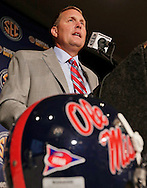 Mississippi coach Hugh Freeze talks with reporters during the Southeastern Conference football Media Days in Hoover, Ala., Tuesday, July 16, 2013. (AP Photo/Dave Martin)
