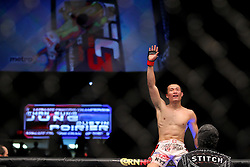Fairfax, VA - May 15, 2012: Chan Sung Jung celebrates his win over Dustin Poirier at UFC on FUEL TV 3 at the Patriot Center in Fairfax, Virginia.