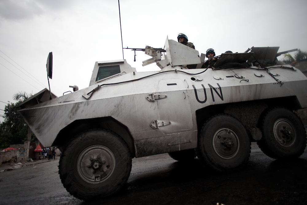 UN soldiers patrol as protestors take to the streets for the second day in a row in response to Haiti's election results which were announced on Tuesday December 7th among allegations of fraud.