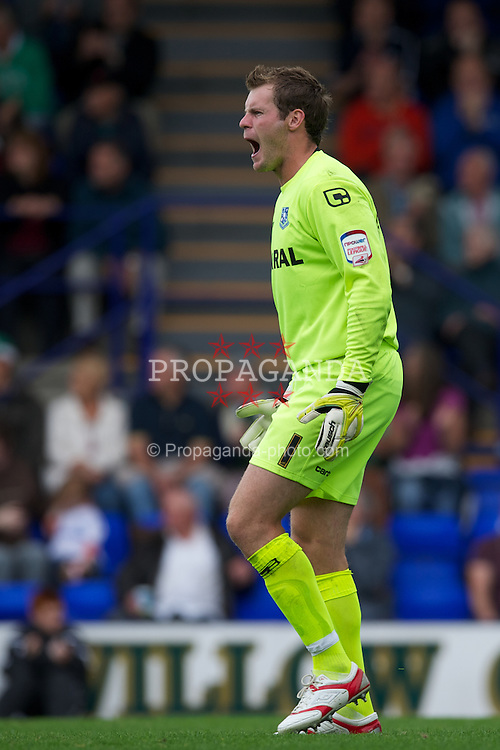 BIRKENHEAD, ENGLAND - Saturday, August 6, 2011: Tranmere Rovers' goalkeeper Owain Fon Williams in action against Chesterfield during the opening Football League One match at Prenton Park. (Photo by David Rawcliffe/Propaganda)