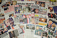 London, England - November 10, 2016: British newspaper front pages reporting on the US presidential election result in which Donald Trump became the 45th president of the United States.
