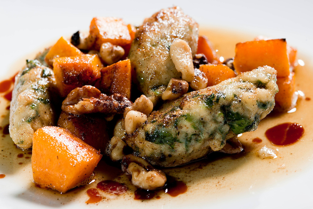 Food and specialties created by the talented and creative Chef Jason Dodge at Peche Ricotta Gnocchi with Roasted butternut Squash, Sage, and Motsto Cotto Brown Butter Restaurant and Bar.