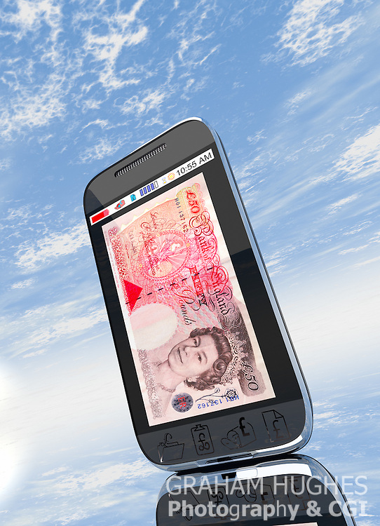 Mobile phone with £50 pound note on screen.