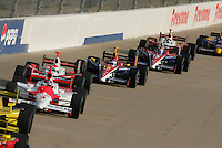 Danica Patrick and Buddy Rice at the Nashville Superspeedway, Firestone Indy 200, July 16, 2005