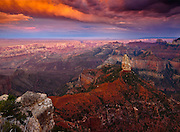 Sunset over Mount Hayden from Point Imperial on the North Rim of Grand Canyon National Park.