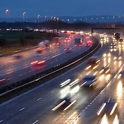 Motorway traffic in wet weather