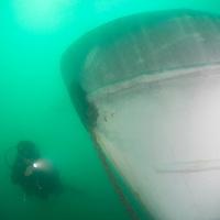 The KM Kuraman shipwreck, in Tunku Abdul Rahman Park, Kota Kinabalu, Sabah, Malaysia.