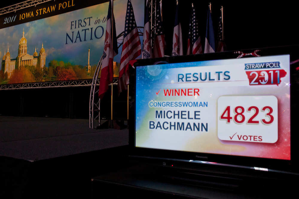 A television screen inside the Hilton Coliseum shows Republican presidential hopeful Michele Bachmann as the winner of the Iowa Republican Straw Poll on Saturday, August 13, 2011 in Ames, IA.
