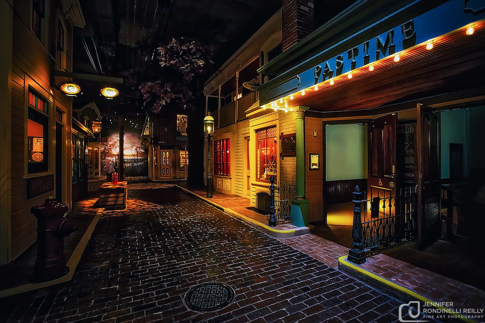 Photo of the Pastime Theater and optometrist  office in the Streets of Old Milwaukee at the Milwaukee County Museum.