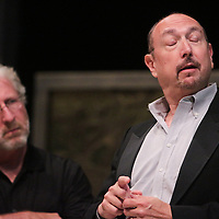 "Michael Rallis, left, and Carl Samet rehearse a scene from ""The Merry Widow"" Thursday July 17, 2014 at The Cultural Art building on the campus of UNCW. (Jason A. Frizzelle)"