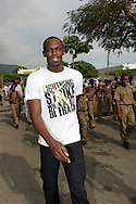 Usain Bolt with school kids in Kingston Jamaica