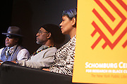 """October 20, 2012-New York, NY: (L-R) Hip Hop Living Legend Grand Master Melle Mel, HipHop Co-founder DJ Kool Herc and Martha Diaz, HipHop Resident-in-Scholar, The Schomburg Center at From Beat Street to These Streets: Hip Hop Then and Now panel discussion and special screening of """" Beat Street"""" co-hosted by the Schomburg Center, the Tribeca Youth Screening Series & Belafonte Enterprises and held at The Schomburg Center on October 20, 2012 in Harlem, New York City  (Terrence Jennings)"""