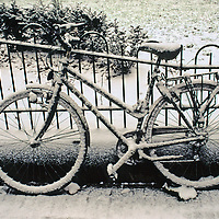 Europe, The Netherlands, Amsterdam. A snow-covered bicycle in Amsterdam in winter.