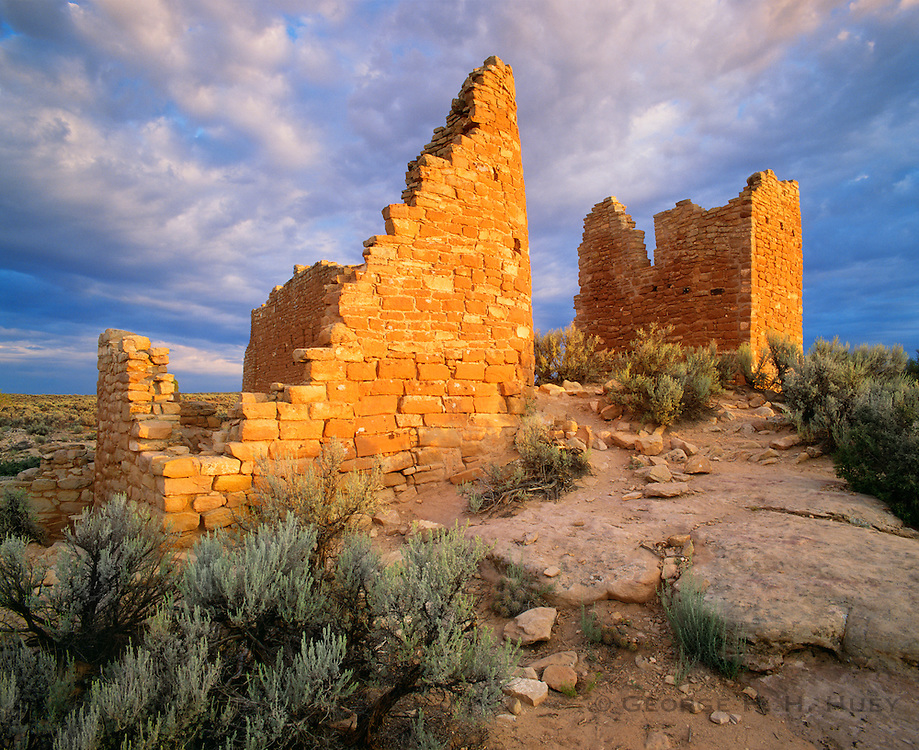 0308-1000 ~ Copyright: George H. H. Huey ~ Hovenweep Castle, with distinctive D-shaped tower. Anasazi culture, constructed ca. A.D. 1200. Likely astronomical observatory. Hovenweep National Monument, Utah.