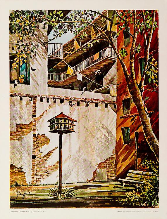 Cat. #25 - Print of a watercolor painting of &quot;Parque de las Palomas&quot; in Old San Juan, Puerto Rico. This small park is adjacent to &quot;Capilla del Cristo&quot; and overlooks the bay. Printed in Italy on heavy weight, smooth stock.<br /> Paper size is 13 3/4 x 17 1/2&quot;. Image size is approximately 12 x 15 3/4&quot; <br /> Cat. #25 - Impresi&oacute;n de una pintura a acuarela del Parque de las Palomas en el Viejo San Juan, Puerto Rico. Este peque&ntilde;o y antiguo parque esta adyacente a la Capilla del Cristo y tiene una vista maravillosa la Bah&iacute;a de San Juan. Impreso en Italia en papel grueso y liso.<br /> Tama&ntilde;o del papel es13 3/4 x 17 1/2&quot;. Tama&ntilde;o de la imagen es aproximadamente11 12 x 15 3/4&quot;