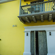 Spanish architecture surrounds the  intimate Plaza Fernandez de Madrid, Old City, Cuidad Vieja, Cartagena, Colombia.