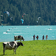 "Parasurfers play on Lake Silvaplana in Upper Engadine, in Graubünden (Grisons) canton, Switzerland, the Alps, Europe. The Swiss valley of Engadine translates as the ""garden of the En (or Inn) River"" (Engadin in German, Engiadina in Romansh, Engadina in Italian)."
